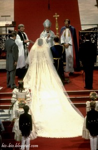 A view of Diana's twenty-five foot long train during the wedding ceremony. The Archbishop of Canterbury, Robert Runcie, presided over the couple's wedding