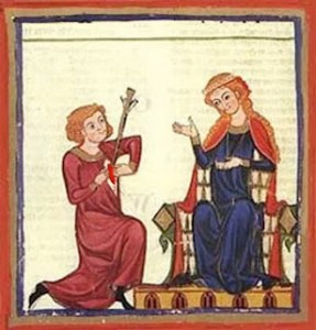 A medieval manuscript piece of a woman in a chair, and a man with a sword in his chest, and he's ripping his heart open
