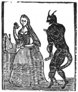 Woodcut of the devil and a woman