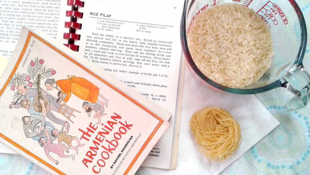 Armenian cookbooks, measuring cup of rice, and vermicelli